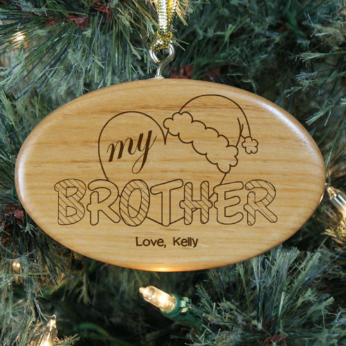 Heart My Brother Personalized Wood Ornament