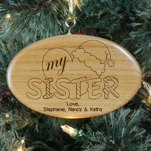 Heart My Sister Personalized Wood Ornament