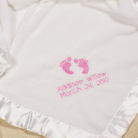 Embroidered Baby Feet Fleece Blanket (boy & girl designs)