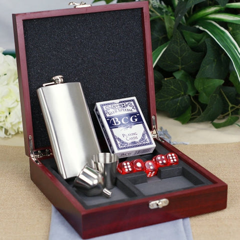 Engraved Wood Poker & Flask Set