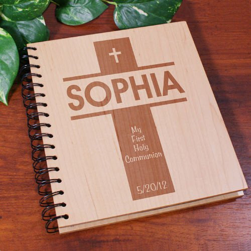 First Communion Engraved Wood Photo Album