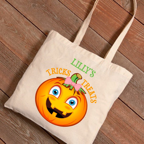Girl Pumpkin Personalized Treat Bag