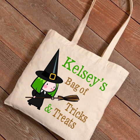 Witch & Broom Personalized Treat Bag