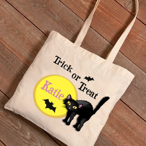 Black Cat & Moon Personalized Treat Bag