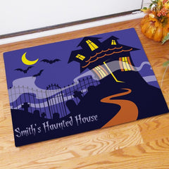Haunted House Personalized Doormat