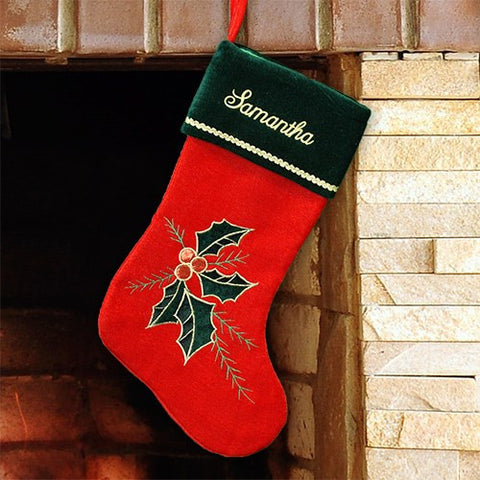 Holly Leaves and Berries Embroidered Christmas Stocking