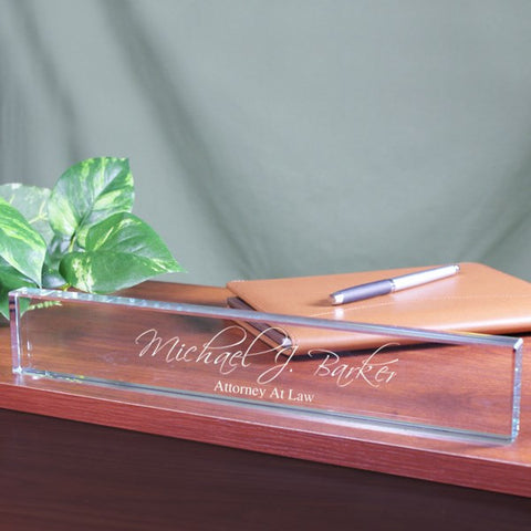 Engraved Glass Desk Name Plate