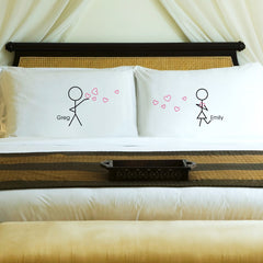 Couples Stick Figure Pillowcase Set