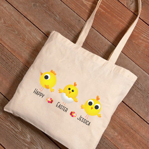 Personalized Easter Canvas Bag - Chick Designs