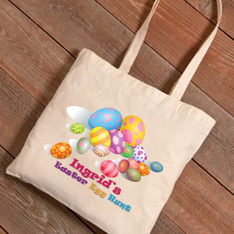 Personalized Easter Canvas Bag - Easter Eggs Designs