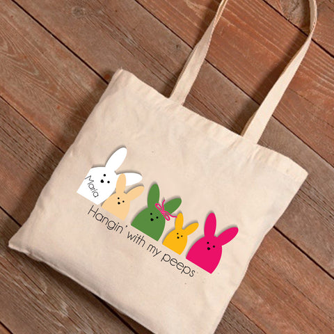 Personalized Easter Canvas Bag - Bunnies Designs