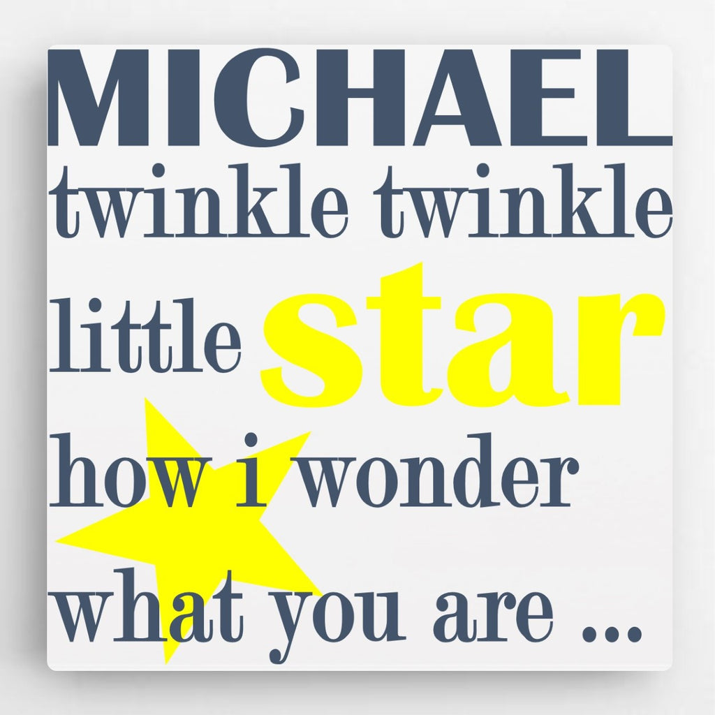 "Personalized ""Twinkle Little Star"" Canvas- Blue"
