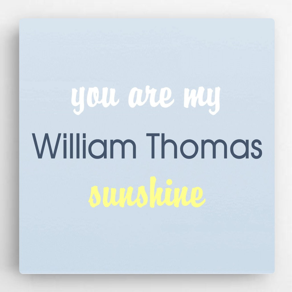 "Personalized ""You Are My Sunshine"" Canvas- Blue"