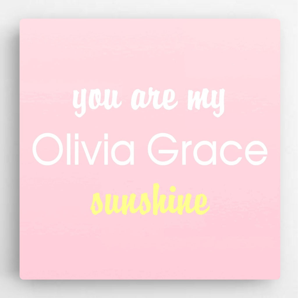 "Personalized ""You Are My Sunshine"" Canvas- Pink"