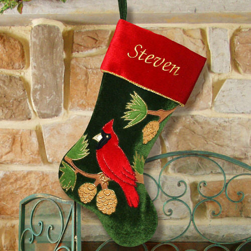 Cardinal Embroidered Christmas Stocking