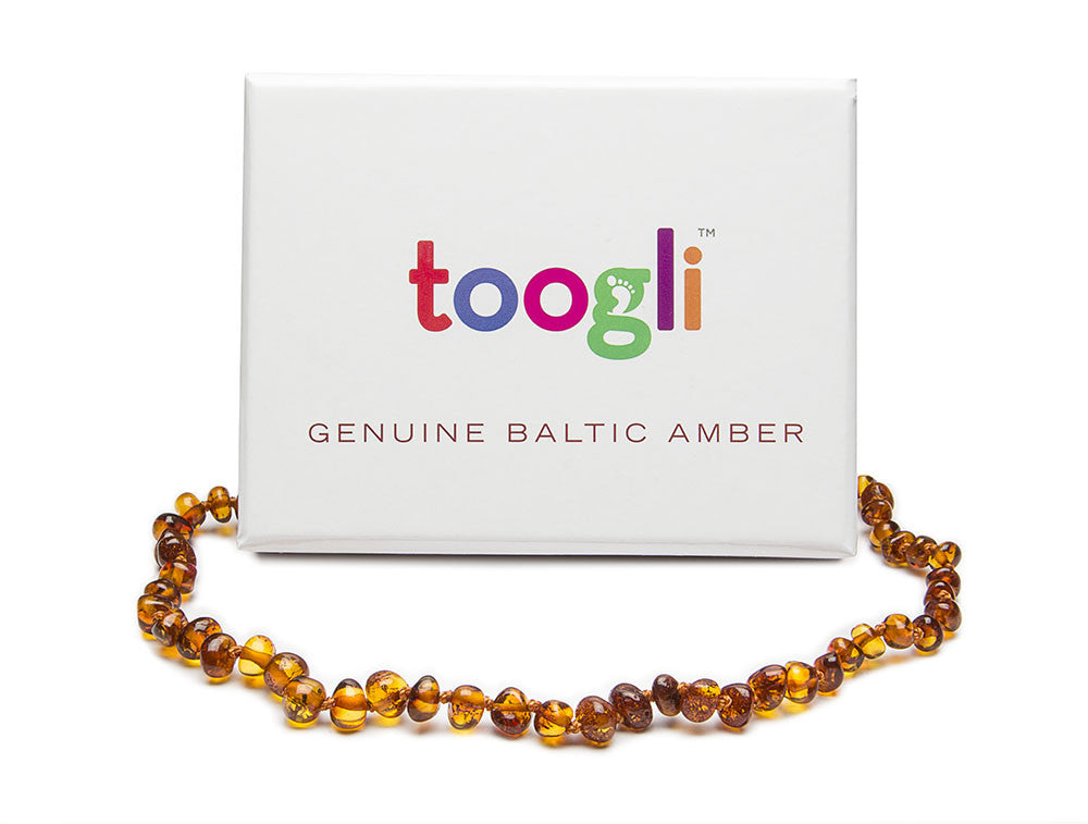 CYBER MONDAY SPECIAL - SAVE 50%!  Cognac Baltic Amber Teething Necklace - Toogli - 3