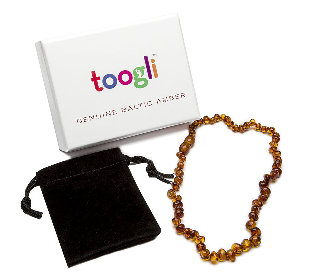 CYBER MONDAY SPECIAL - SAVE 50%!  Cognac Baltic Amber Teething Necklace - Toogli - 4