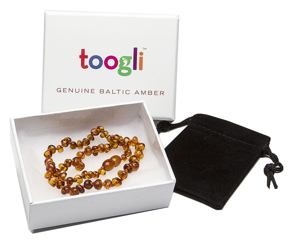 CYBER MONDAY SPECIAL - SAVE 50%!  Cognac Baltic Amber Teething Necklace - Toogli - 2