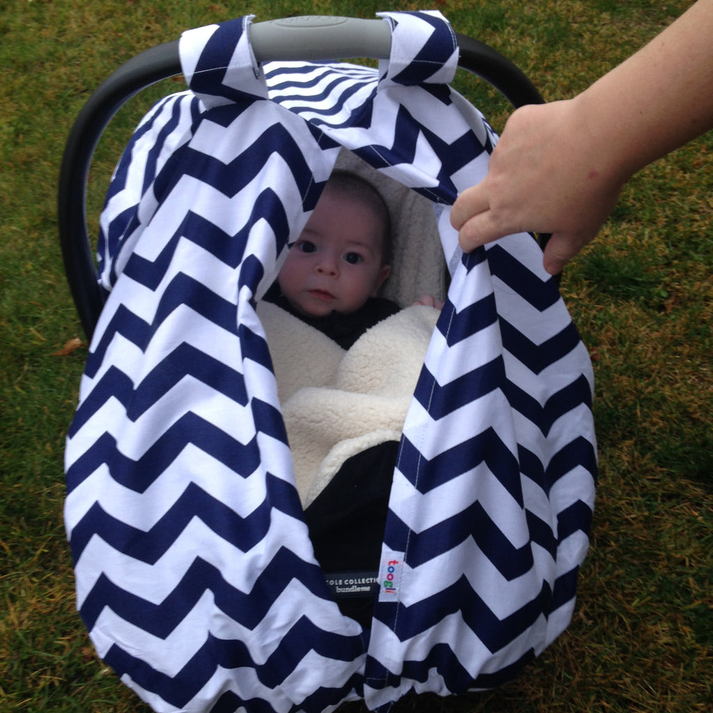 "CYBER MONDAY SPECIAL - SAVE 20%! ""Peek-a-Boo""  Chevron  Carseat Canopy - Toogli - 6"