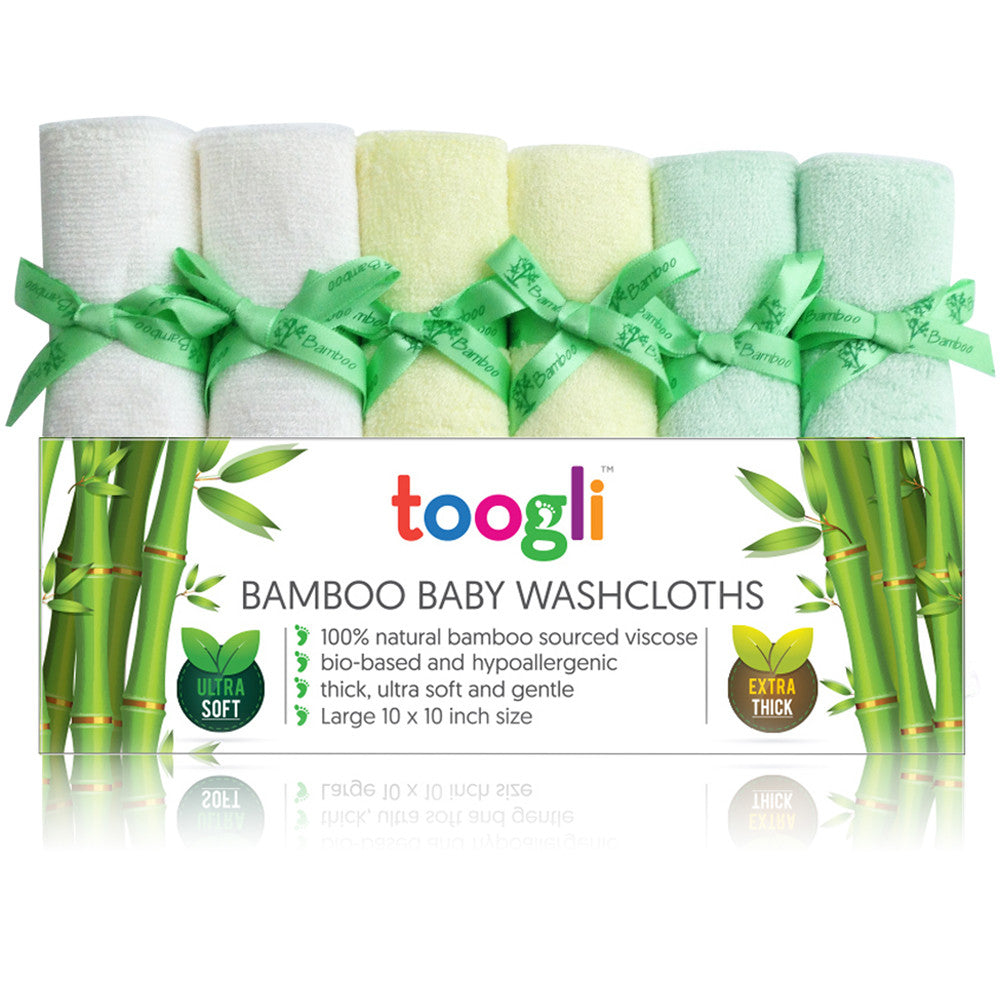 CYBER MONDAY SPECIAL - SAVE 40%!  Ultra Soft Bamboo Baby Washcloths (Set of 6) - Toogli - 2