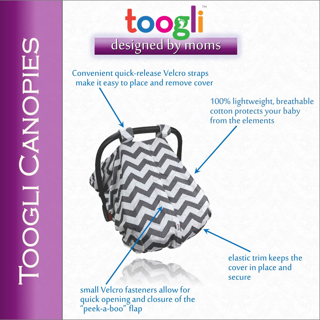 "CYBER MONDAY SPECIAL - SAVE 20%! ""Peek-a-Boo""  Chevron  Carseat Canopy - Toogli - 5"