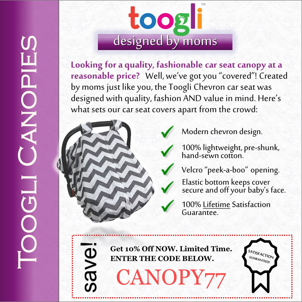 "CYBER MONDAY SPECIAL - SAVE 20%! ""Peek-a-Boo""  Chevron  Carseat Canopy - Toogli - 7"