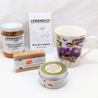 Gardener mug and honey gift with lovely mug, honey, wildflower seeds, healing balm and soap
