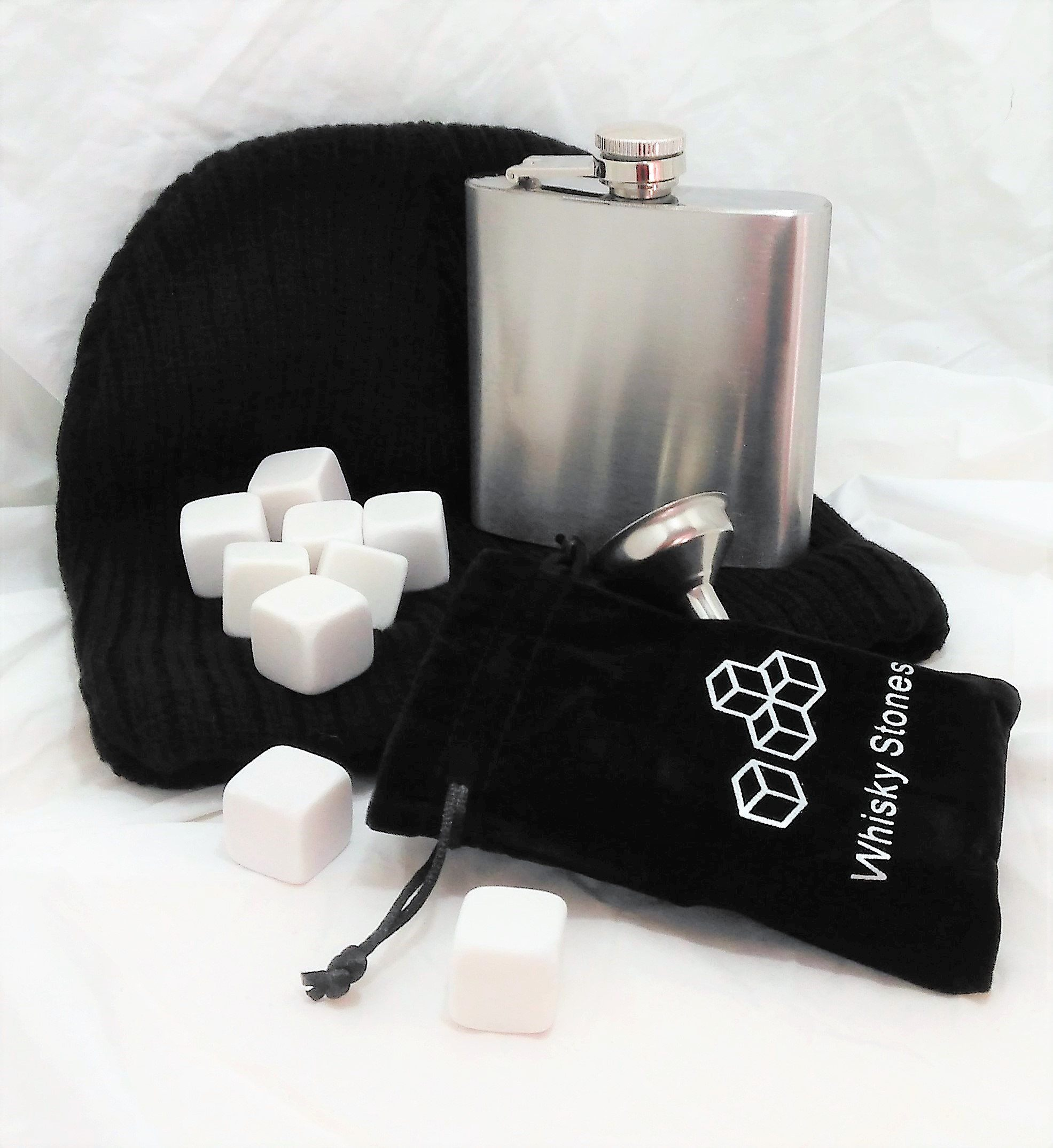 Whiskey stone and hip flask gift