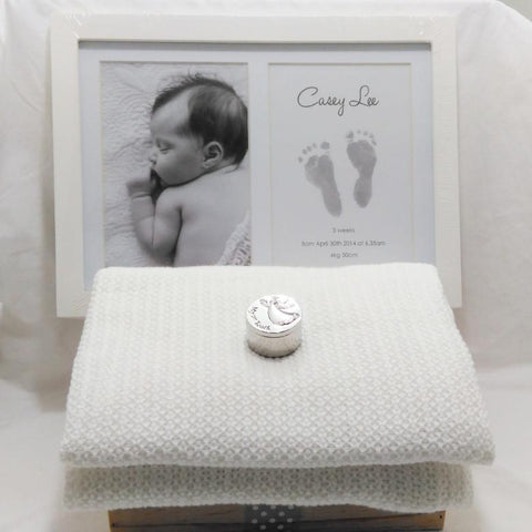 Baby memento gift - double photo frame inkless kit, organic cotton blanket and first tooth trinket box