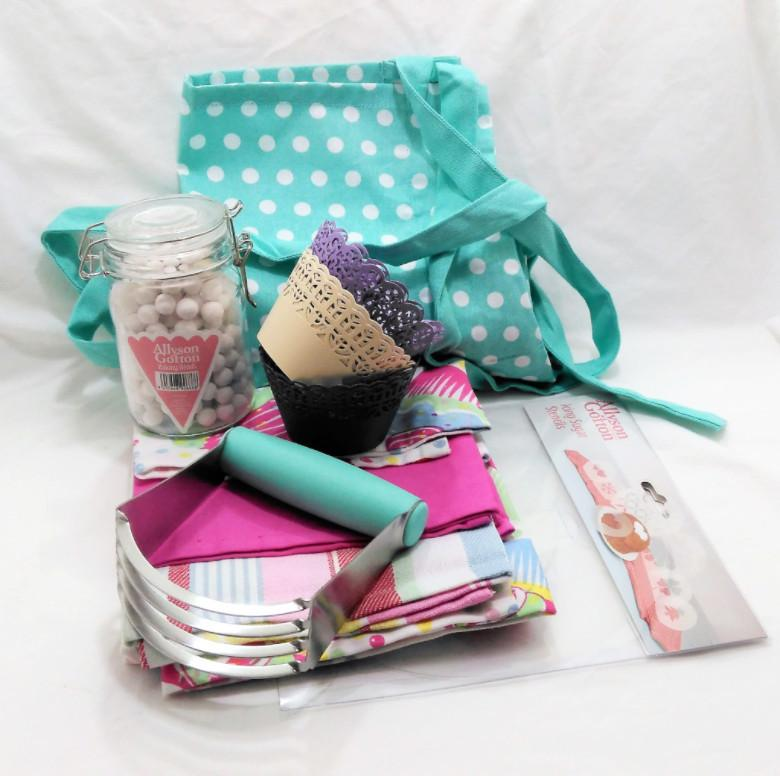 Baker gift - apron, pastry blender, tea towels, icing sugar stencils and cupcake wrappers