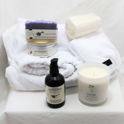 Lavender pamper gift for her with microfibre body wrap and hair wrap, lavender massage oil, body butter and soap, Soulistic lavender aromatherapy candle and natural loofah