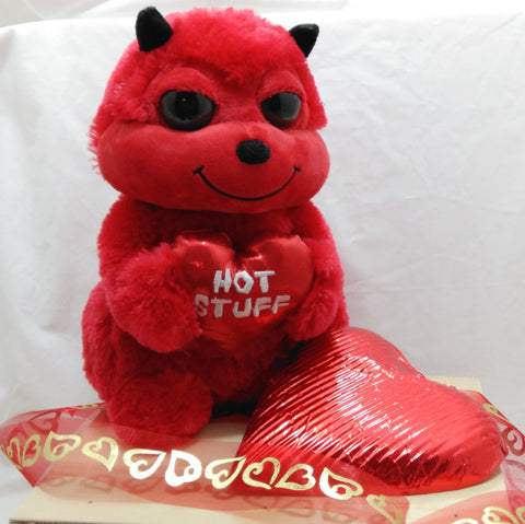 """Hot Stuff"" gift with cuddly red devil and giant solid chocolate heart"