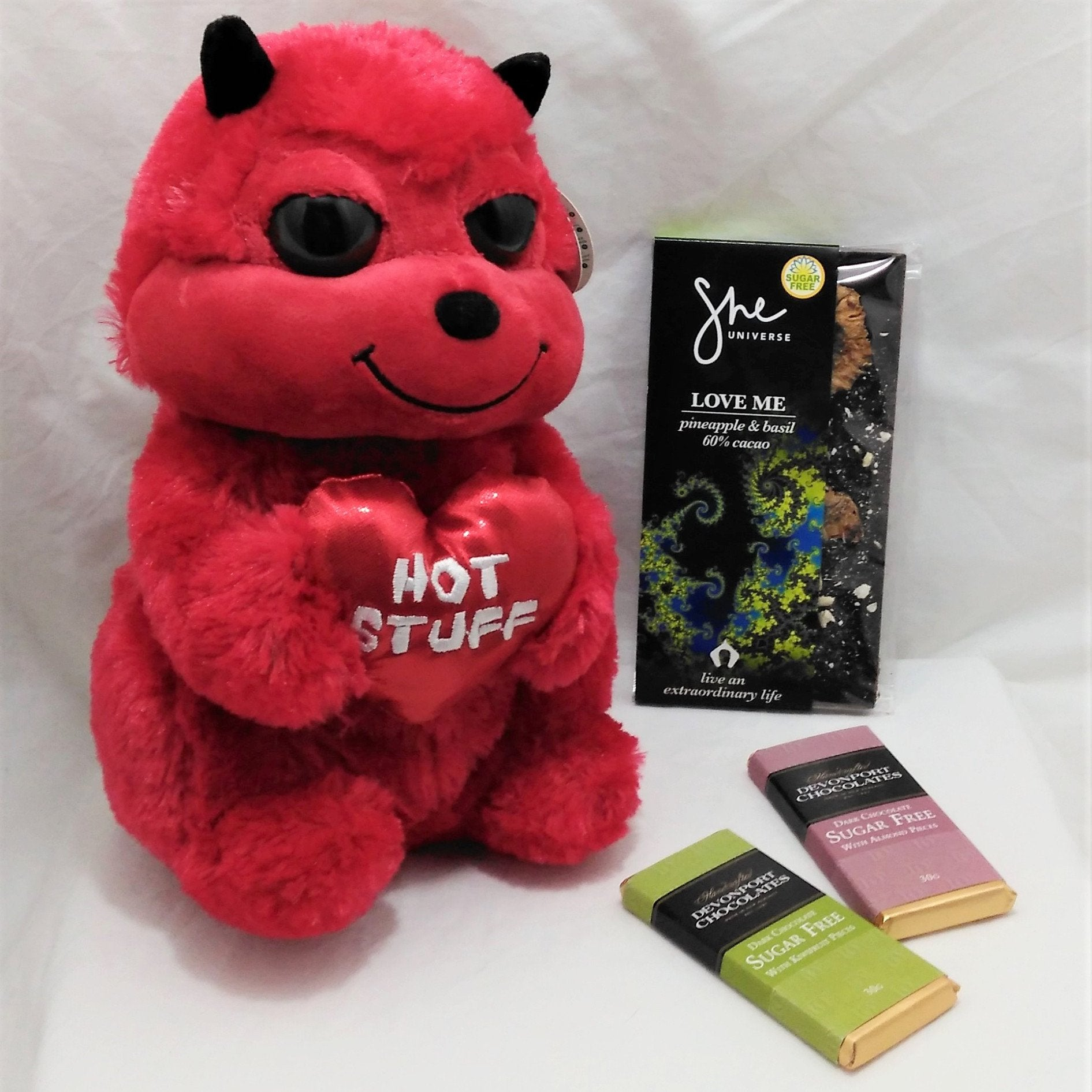 """Hot Stuff"" gift with cuddly red devil and sugar free chocolates"