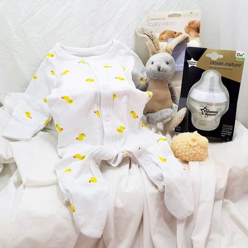 Baby Gift Box. A lovely gift with a selection of quality baby items for a newborn baby.