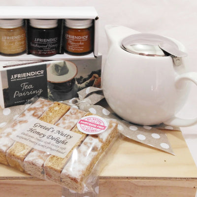 Tea and honey gift with white porcelain teapot with infuser, tea pairing honey set and nutty honey gingerbread fingers