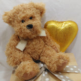 Teddy bear gift with giant solid chocolate heart! Romantic gift, sympathy gift or get well soon gift.