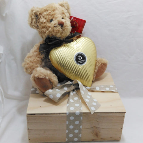 Teddy bear gift with giant chocolate heart