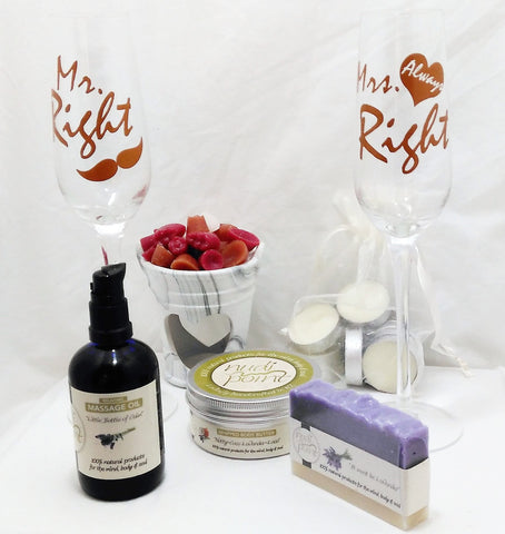 Mr Right and Mrs Always Right champagne glass gift. Perfect wedding gift with Mr Right and Mrs Always Right champagne glasses, Nudi Point lavender massage oil, body butter and soap, tealight burner with tealight candles and scented wax chips.