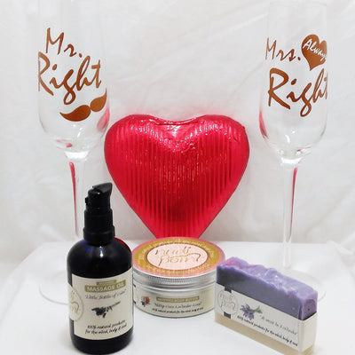 Mr Right and Mrs Always Right champagne glass gift. Perfect wedding gift with Mr Right and Mrs Always Right champagne glasses, Nudi Point lavender massage oil, body butter and soap and a solid chocolate heart