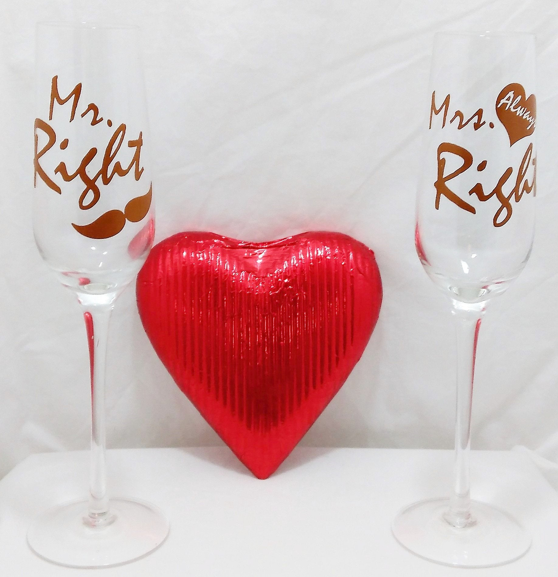 Mr Right and Mrs Always Right champagne glass gift. Perfect wedding gift with Mr Right and Mrs Always Right champagne glasses and a solid milk chocolate heart