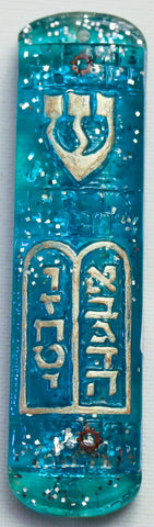 Ten Commandments Mezuzah.  One of a Kind Judaica Art # M-1036