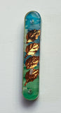 Shin Decorative Art Mezuzah.   Mezuzah with Scroll.  # M-1038