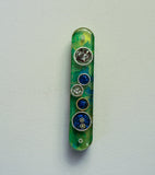 Shin Decorative Art Mezuzah.   Mezuzah with Scroll.  # M-1040