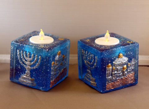 Shabbat Candles. Tea Candle Holders. Colorful Shabbat Candle Holders.  Judaica Shabbat Candles. Jewish Shabbat Candles.  # CA-018