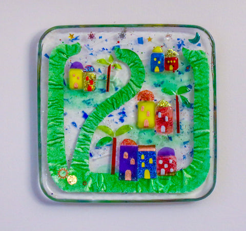 City of Jerusalem Resin Wall Hanging around the Letter Shin.   Hand Made,# DIS-025