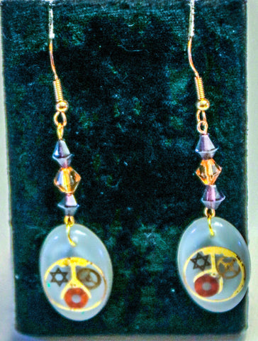 Star of David and Watch Parts Earrings.  Judaica Earrings.   # E-014