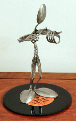 The Violin Player made from Silverware  and mounted on a 45 RPM Record