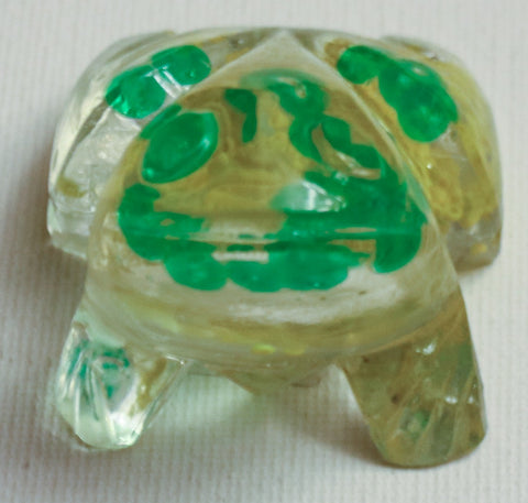 Clear Frog with Green Beads.   Judaica Frog.  Passover Frog.   # F-038