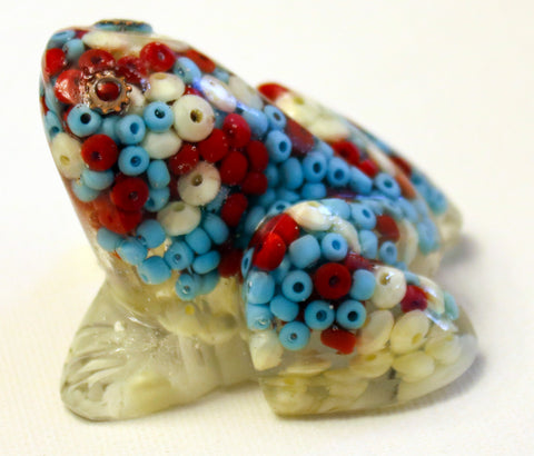 Frog with Red, White and Blue Beads.   Great for Passover.   # F-040