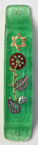 A Star of David Mezuzah with Flower and Watch Parts.  Hand Crafted Mezuzah for the Doorpost of your Home. # M-1055